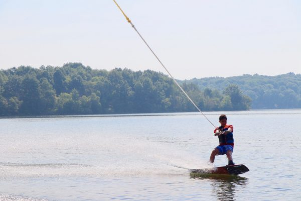 A young man Wakeboarding.